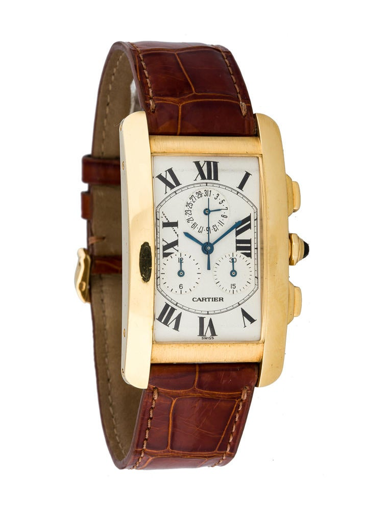 Cartier Tank Americaine 18k Gold Chronograph Watch