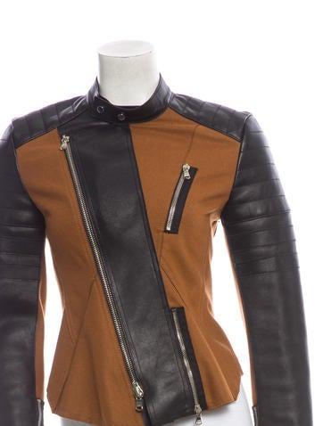 Leather-Trim Moto Jacket