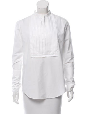 Protagonist Pleat-Accented Button-Up Top None