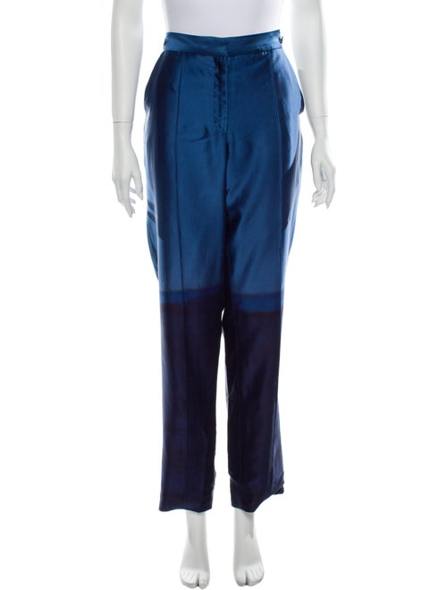 Alejandra Alonso Rojas Silk Straight Leg Pants Blu