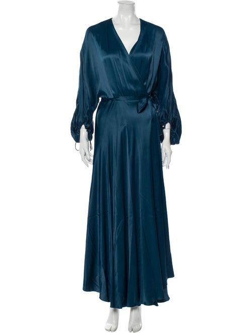 Alejandra Alonso Rojas V-Neck Long Dress Green