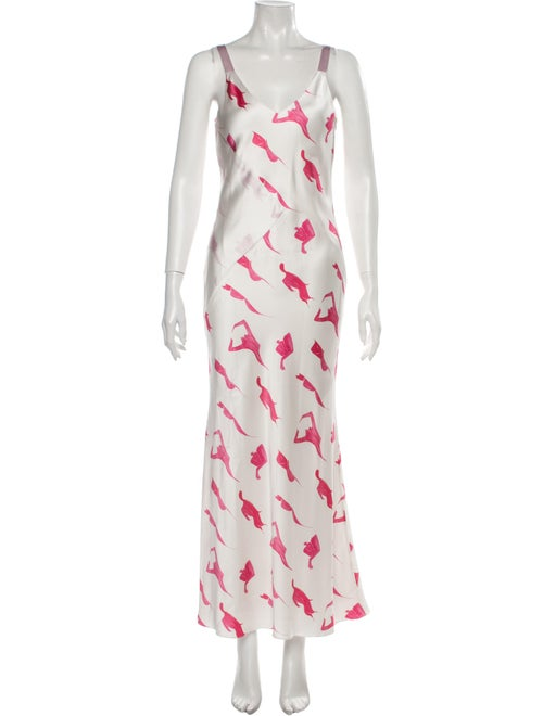 Alejandra Alonso Rojas Silk Midi Length Dress Whit