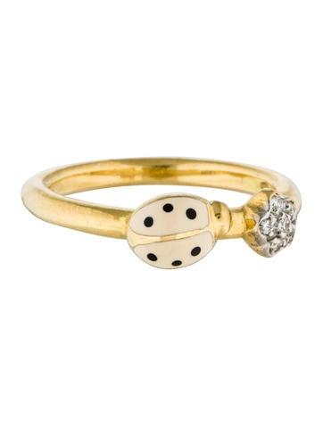 Aaron Basha 18K Ladybug & Flower Diamond Band