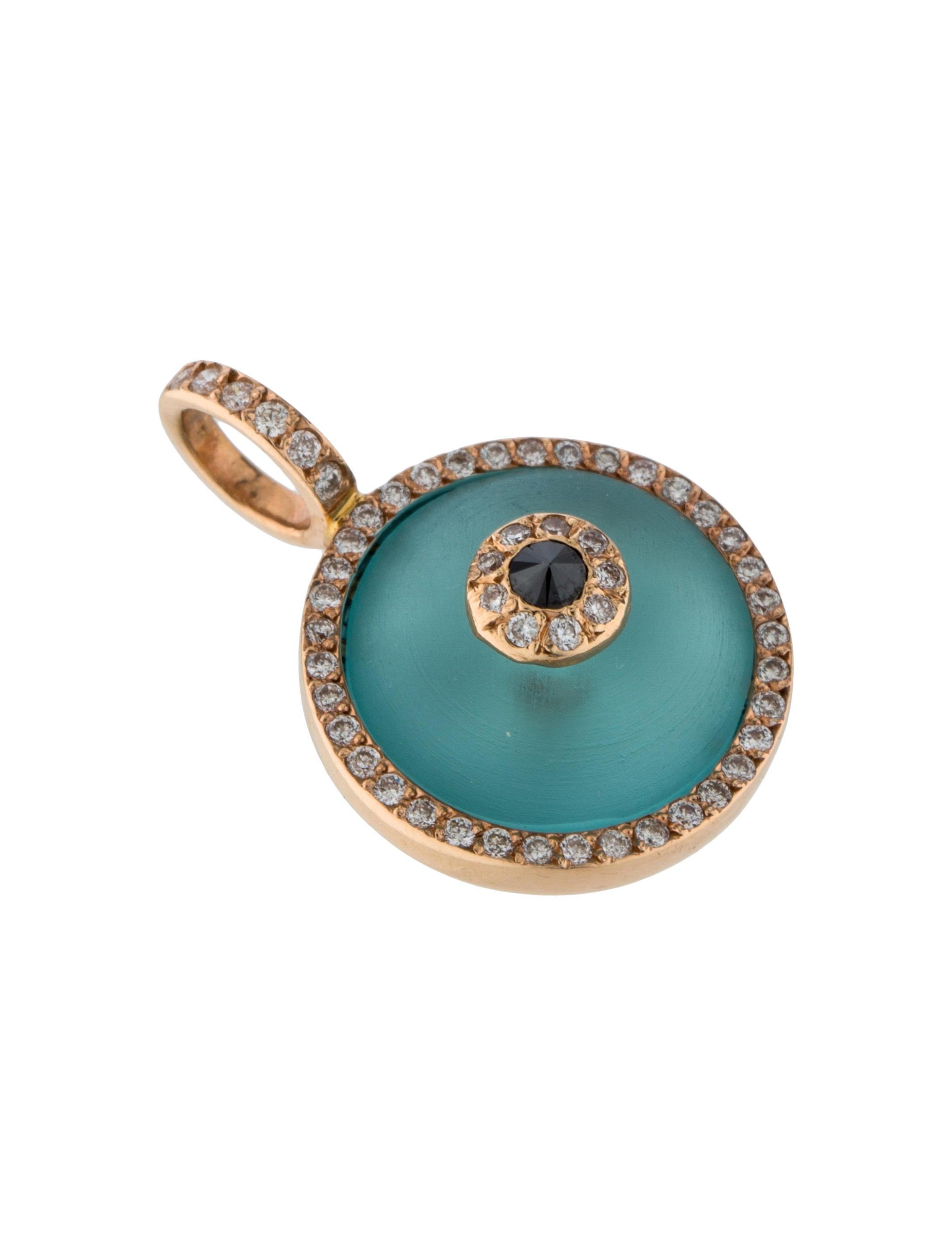 aaron basha 18k diamond crystal small evil eye pendant. Black Bedroom Furniture Sets. Home Design Ideas