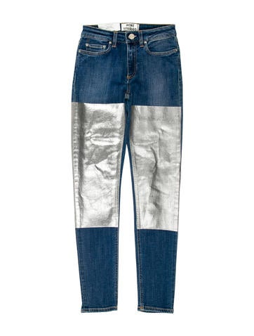 Metallic-Accented Skinny Jeans w/ Tags