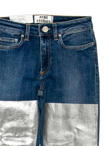 Acne Metallic-Accented Skinny Jeans w/ Tags