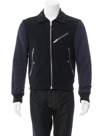 Acne Textured Rib Knit-Trimmed Jacket None