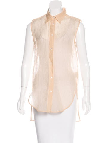 Acne Textured Silk-Blend Top None