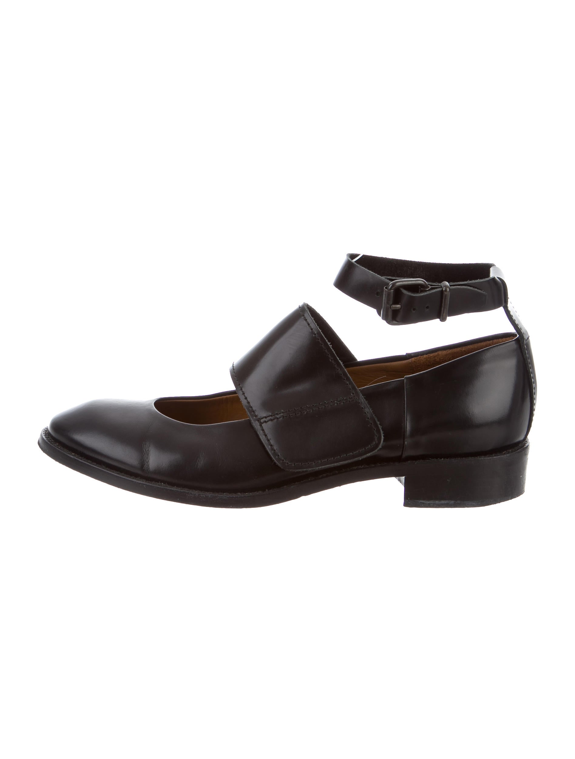 Acne Leather Mary Jane Flats Shoes Acn29098 The Realreal