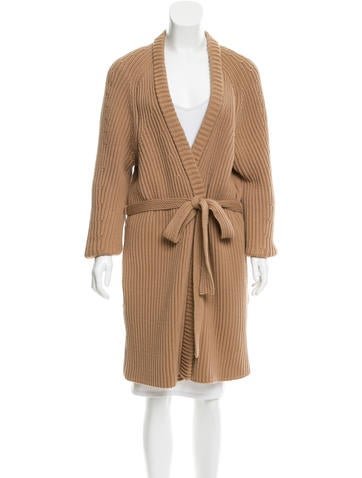 Acne Belted Rib Knit Cardigan None