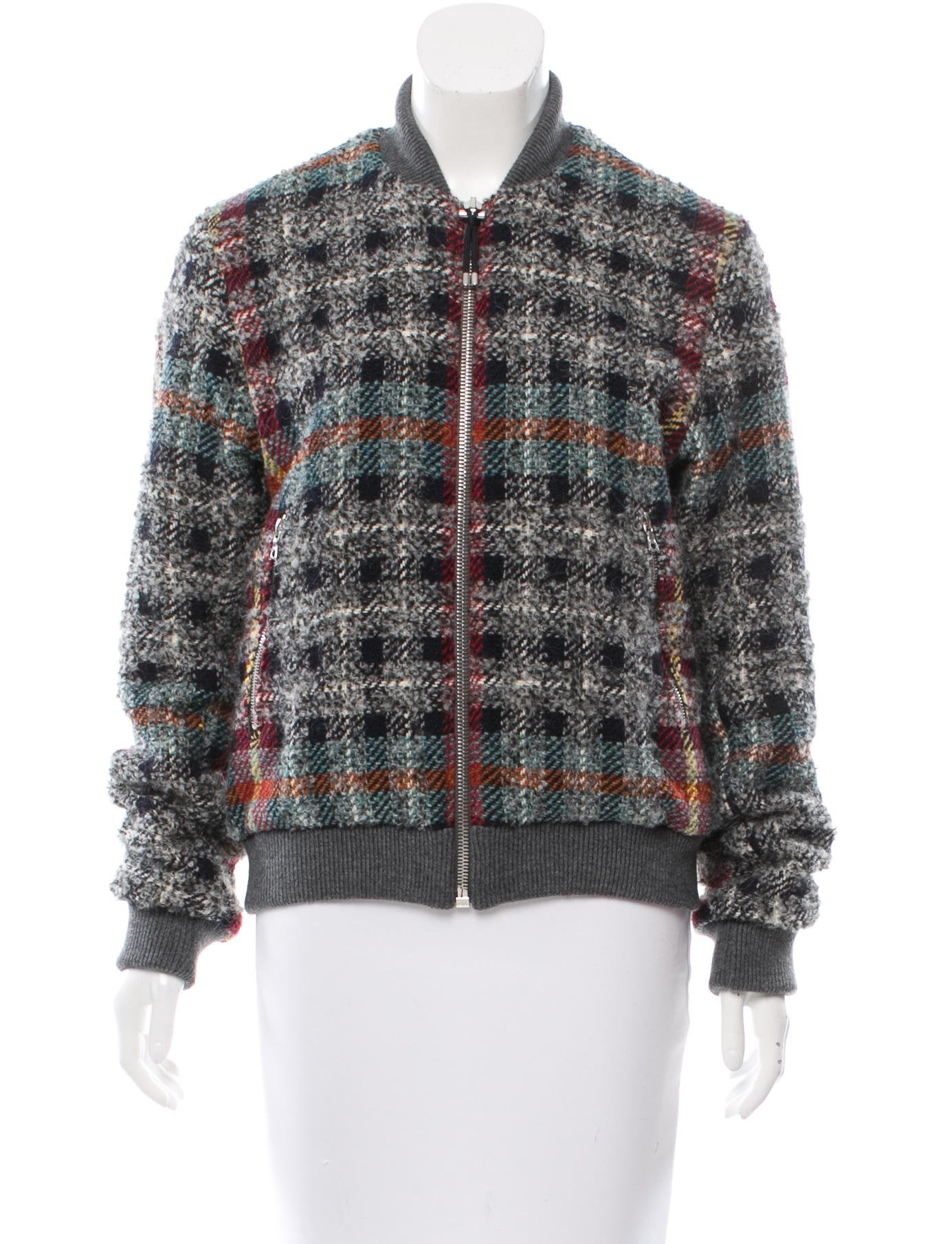 Contemporary Flatware Acne Plaid Boucl 233 Bomber Jacket Clothing Acn30410