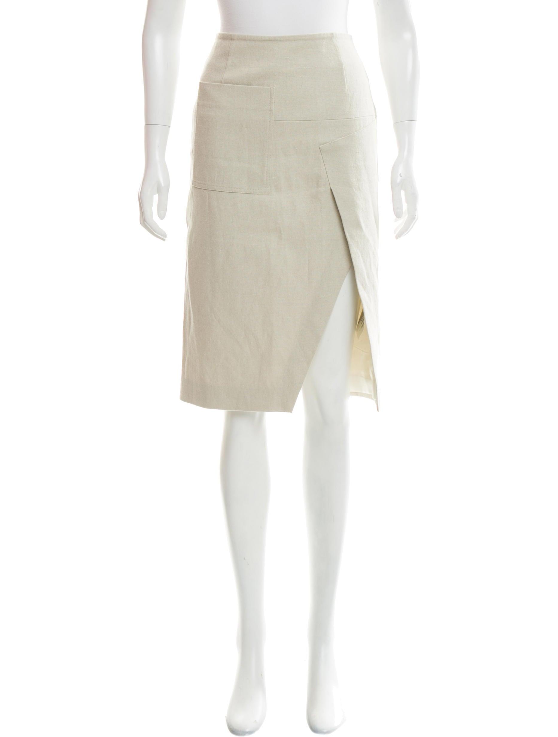 acne studios linen blend knee length skirt clothing