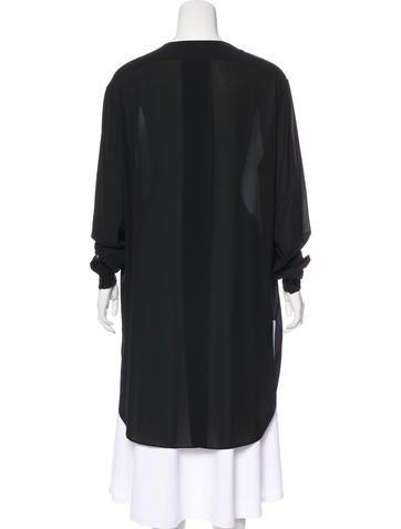 Scoop Neck Button-Up Shirt