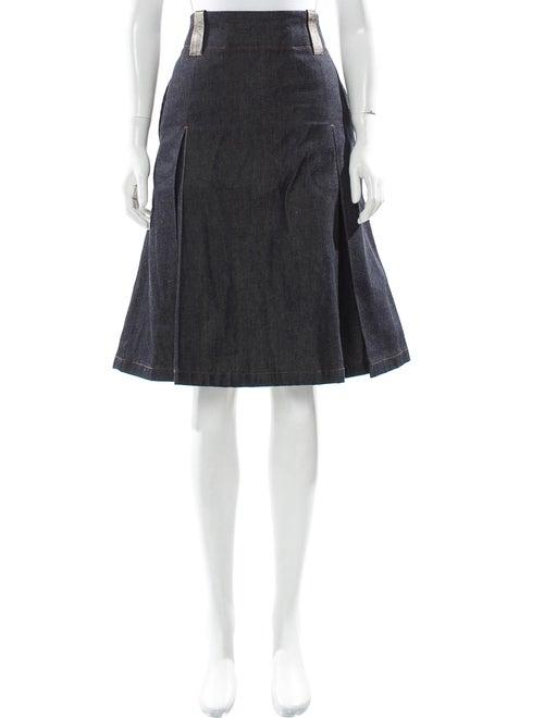 Acne Studios Leather-Accented Denim Skirt blue