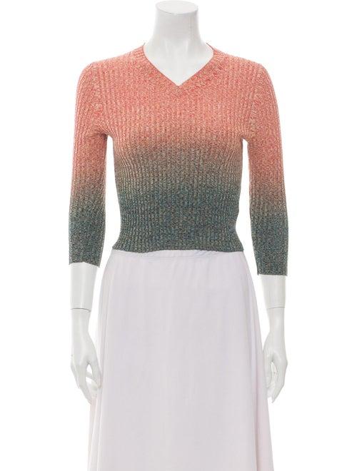 Acne Studios Tie-Dye Print V-Neck Sweater Orange