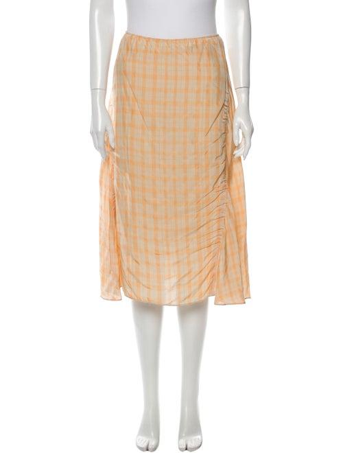 Acne Studios Plaid Print Knee-Length Skirt Orange