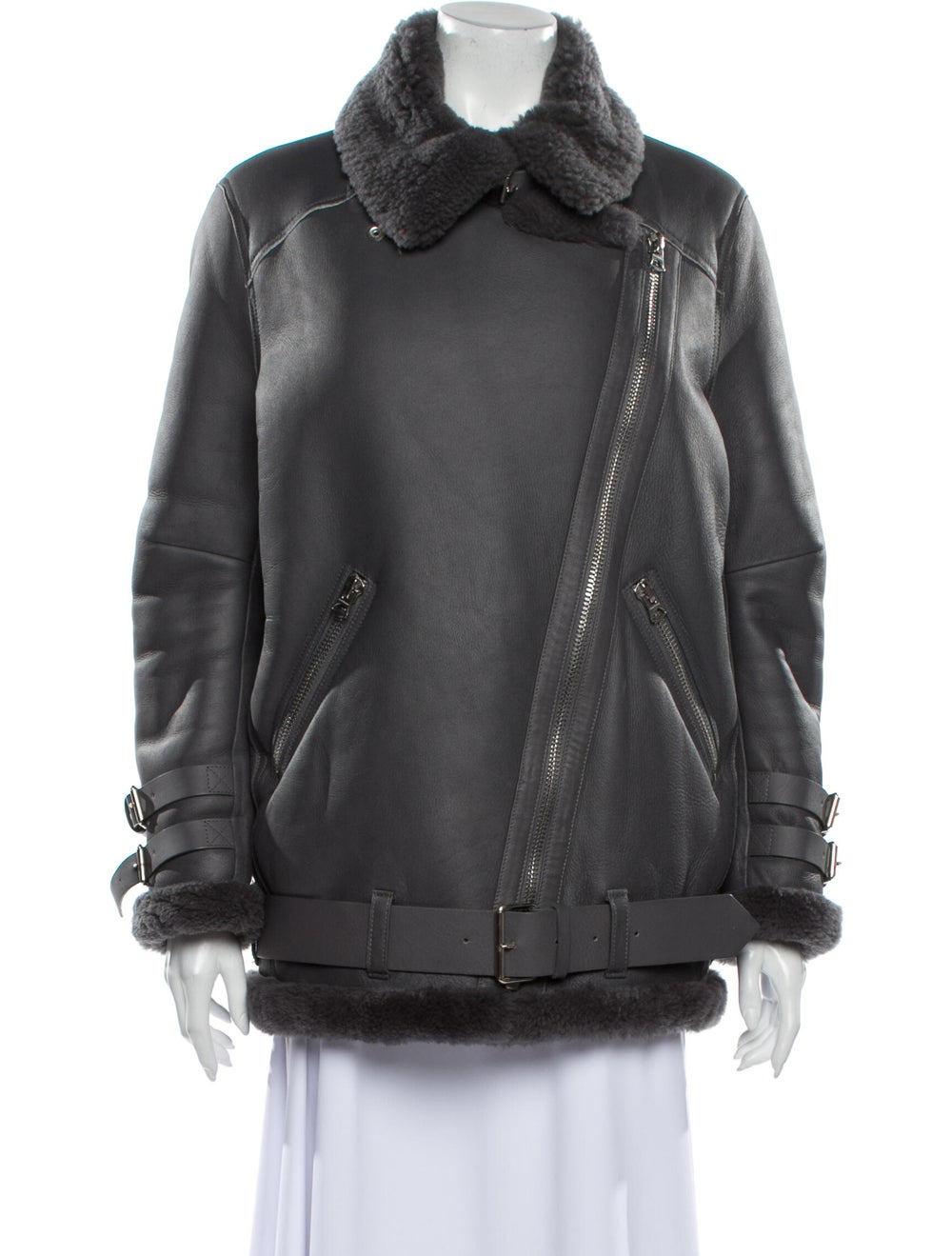 Acne Studios Lamb Leather Coat Grey - image 4