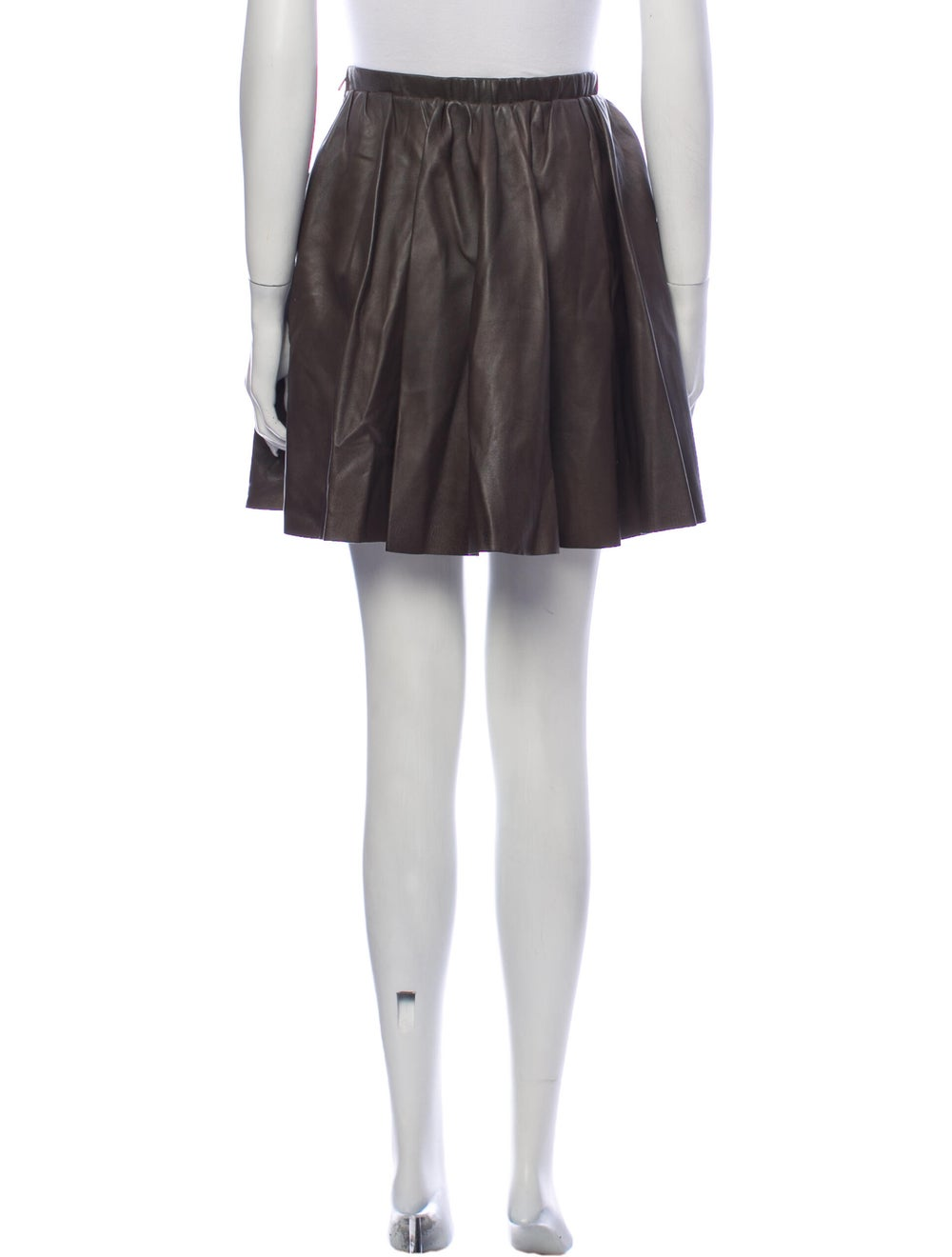 Acne Studios Leather Mini Skirt Brown - image 3