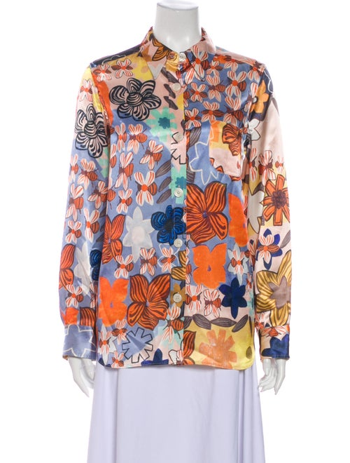 Acne Studios Floral Print Long Sleeve Button-Up To