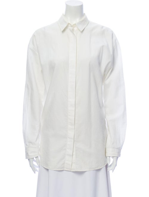 Acne Studios Long Sleeve Button-Up Top White