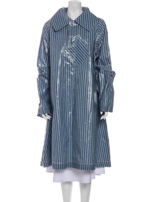 Acne Studios Mobile Stripe Striped Coat Blue