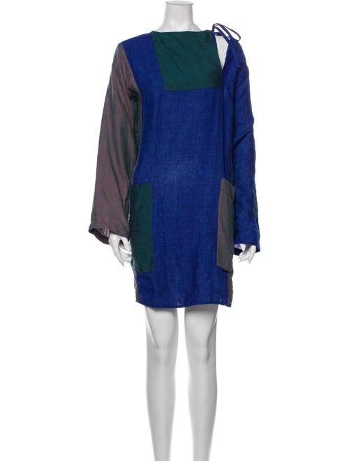 Acne Studios Linen Mini Dress Blue