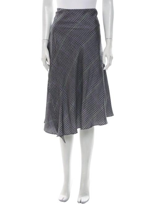 Acne Studios Silk Midi Length Skirt Blue