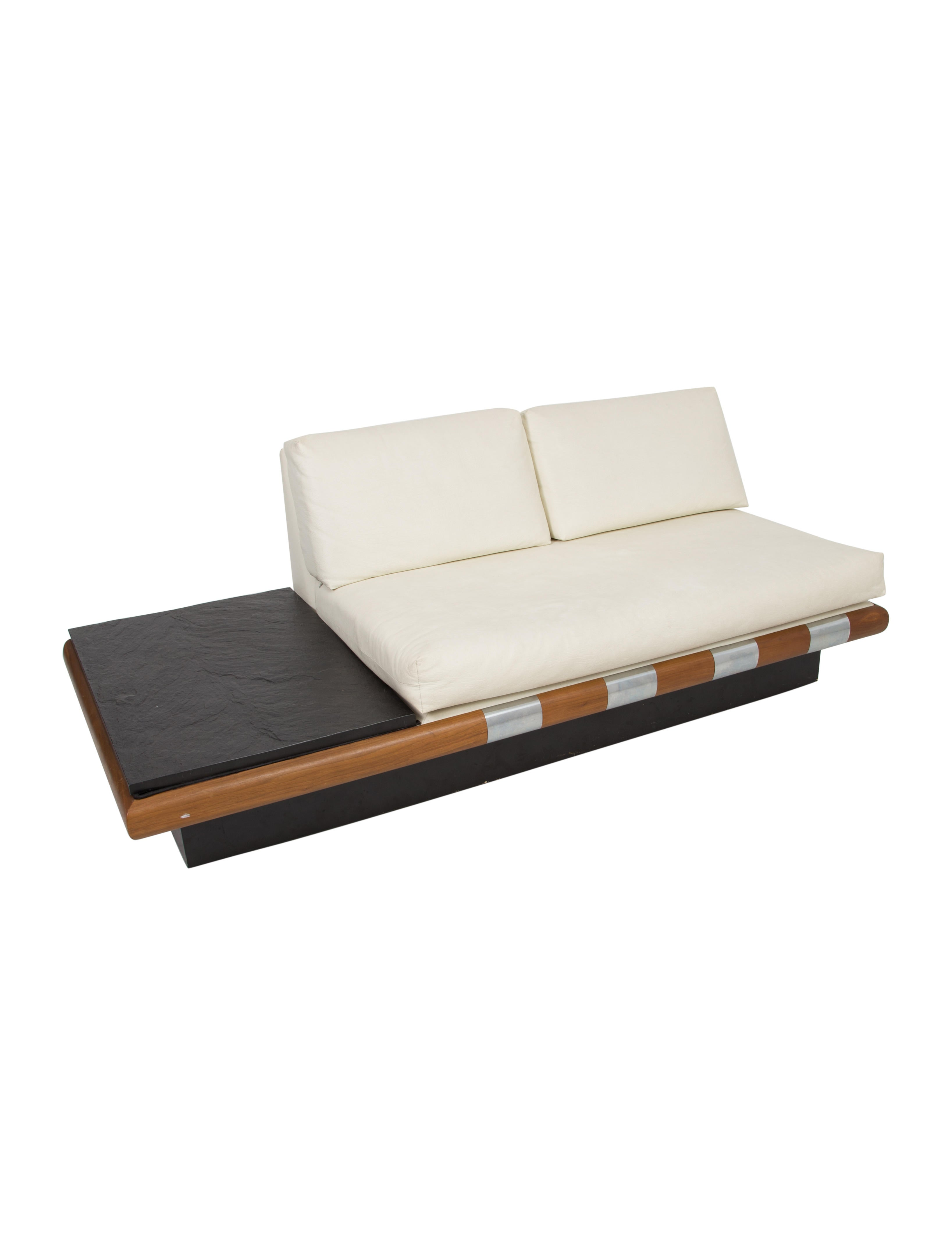 Adrian pearsall upholstered leather sofa with end table for Sofa end tables