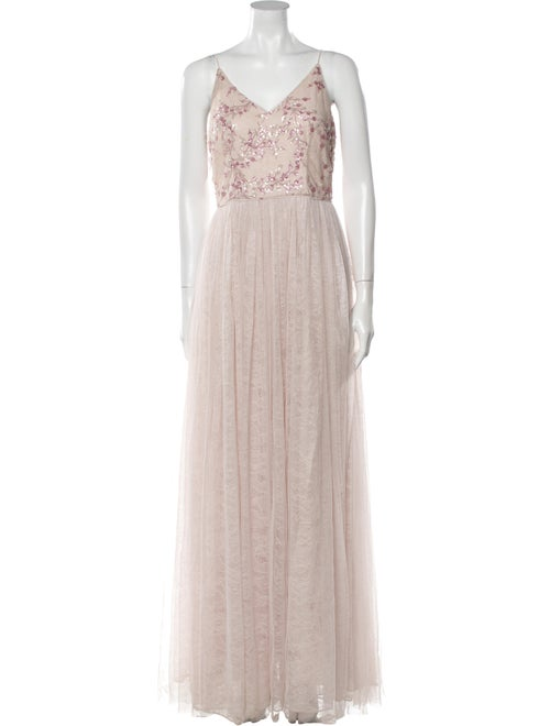Adrian Pearsall Lace Pattern Long Dress Pink