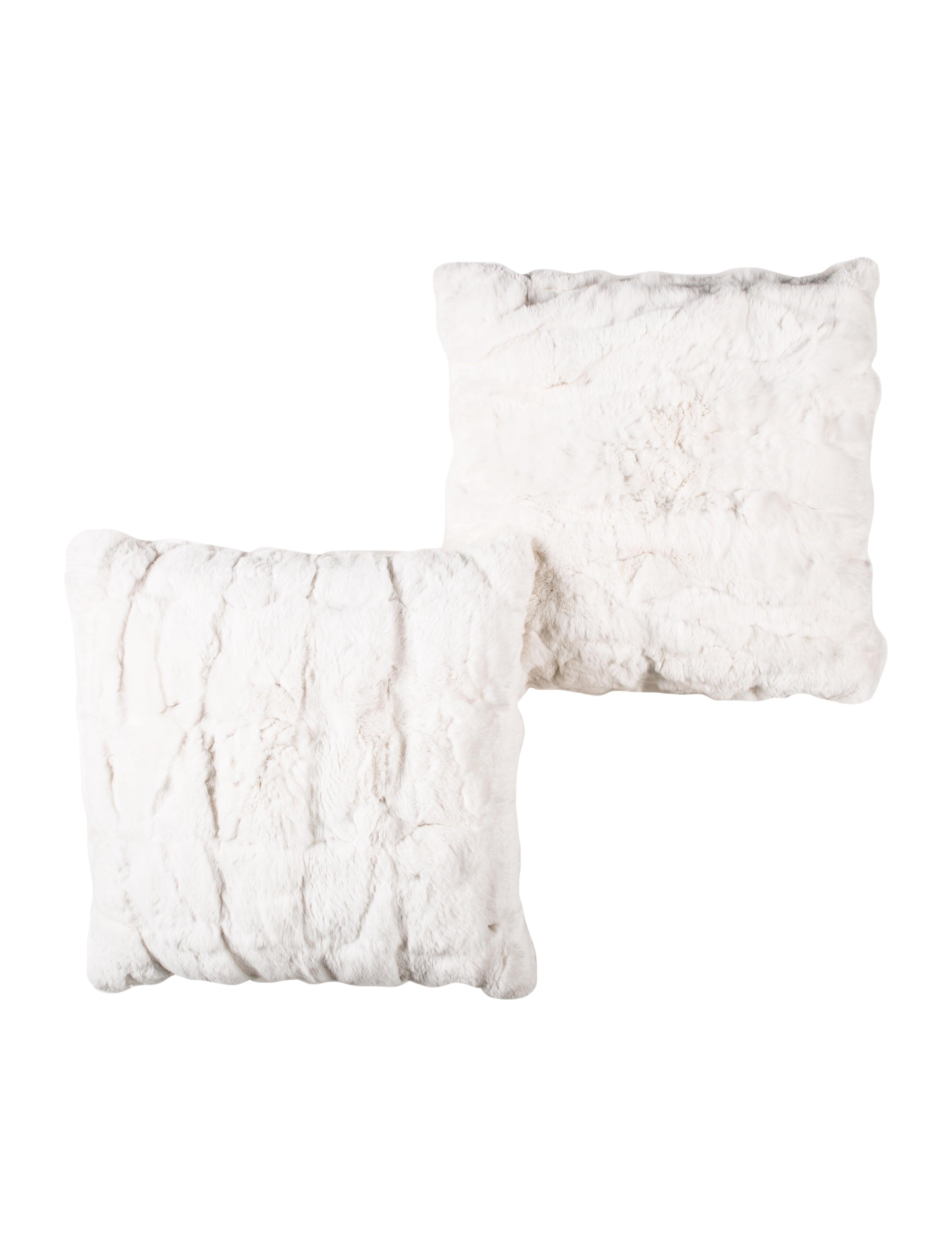 Adrienne Landau Rabbit Fur Pillow Set Pillows Throws Adr21655 The Realreal