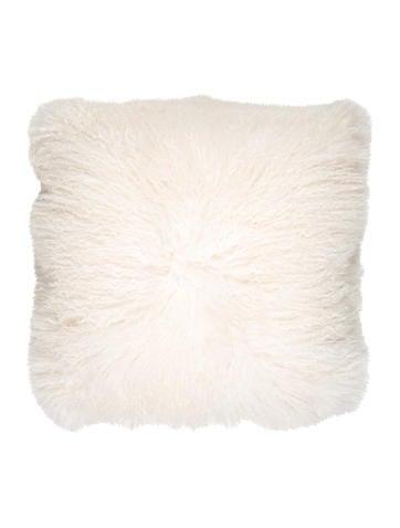 Adrienne Landau Mongolian Lamb Fur Throw Pillow
