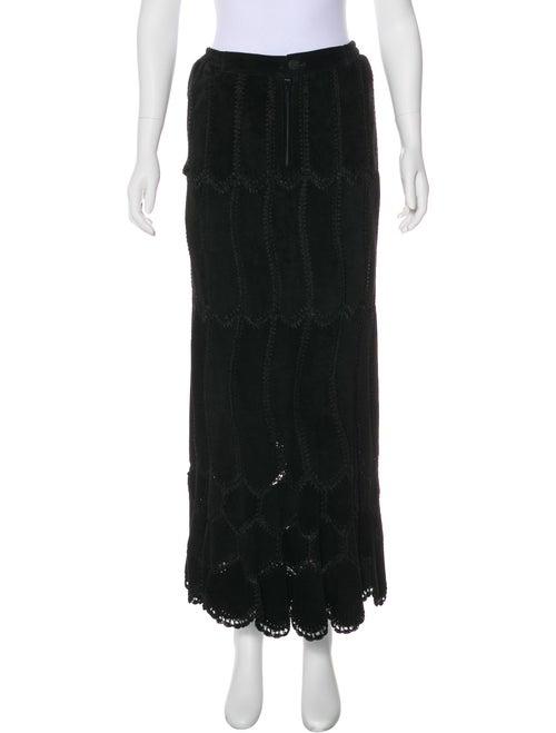 Adrienne Landau Suede Midi Skirt Black