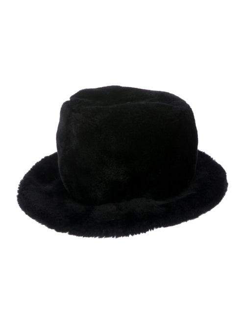 Adrienne Landau Faux-Fur Bucket Hat Black