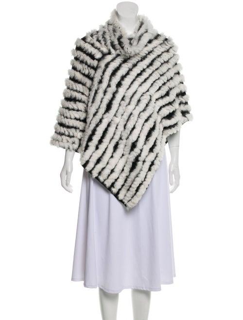 Adrienne Landau Fur-Trimmed Knitted Poncho White