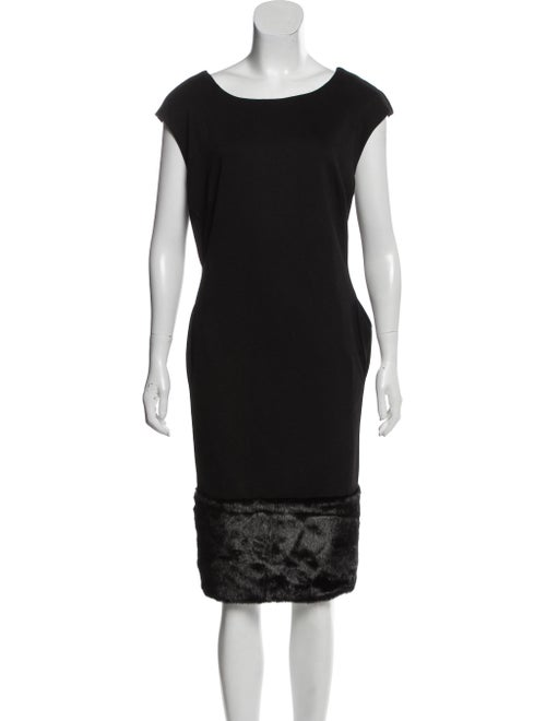 Adrienne Landau Midi Faux Fur-Trimmed Dress Black