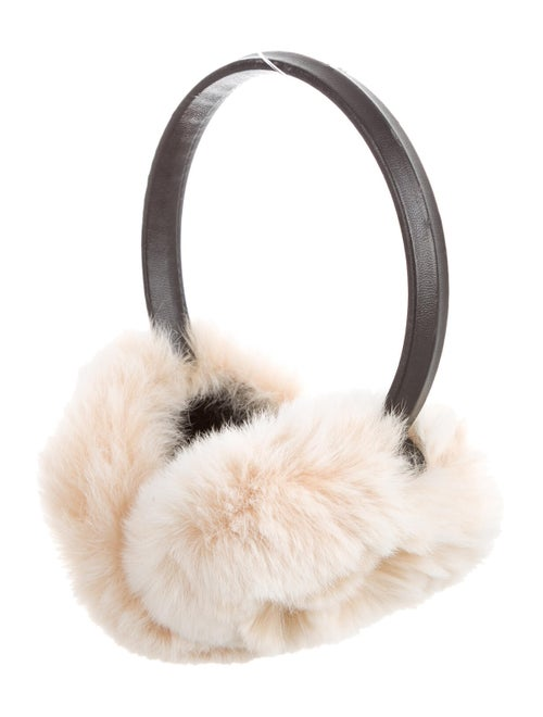 Adrienne Landau Fur-Trimmed Leather Earmuffs Black