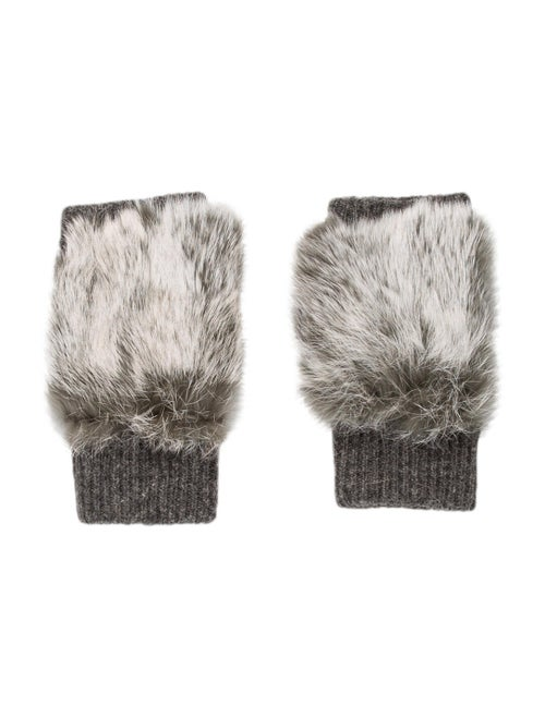 Adrienne Landau Fur-Trimmed Fingerless Gloves wool