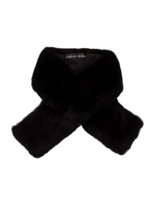 Adrienne Landau Fur Stole Black