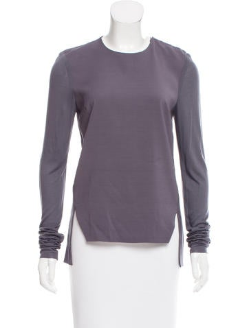 Adeam Mesh-Trimmed Long Sleeve Top None
