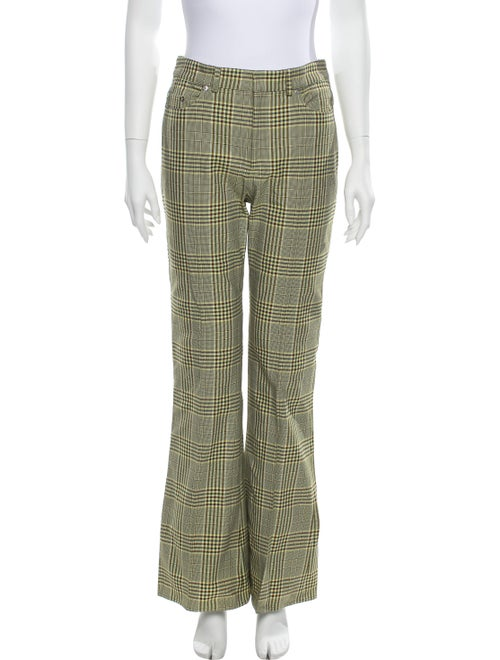 Adeam Plaid Print Flared Pants w/ Tags Yellow
