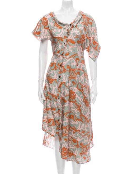 Adeam Silk Long Dress Green