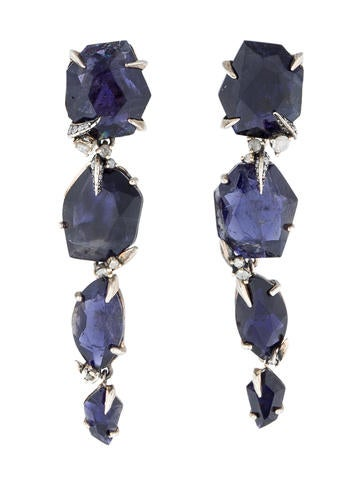 Iolite and Diamond Drop Earrings