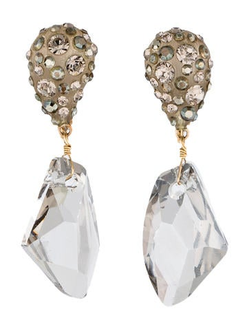 Swarovski Crystal Accented Lucite Drop Earrings