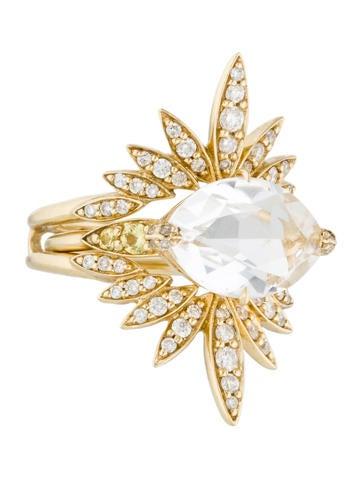 Alexis Bittar Fine Jewelry 14K Quartz & Diamond Ring Set None
