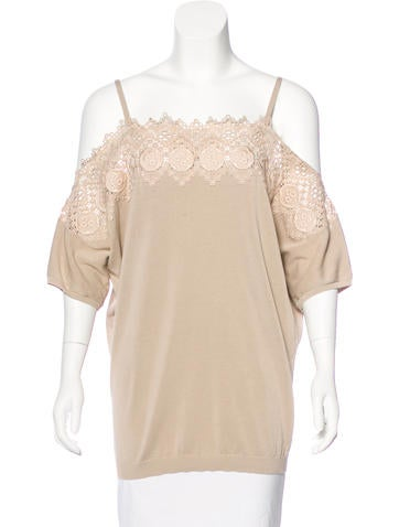 Agnona Embroidered Off-The-Shoulder Top w/ Tags None