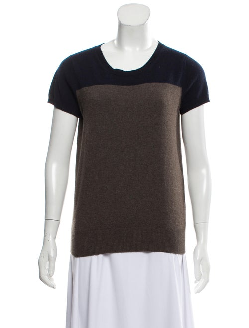 Agnona Cashmere Short Sleeve Sweater navy
