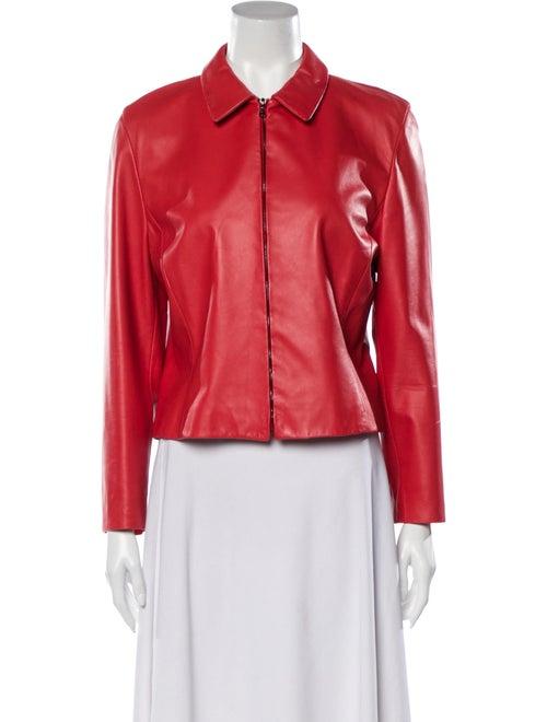 Agnona Leather Biker Jacket Red