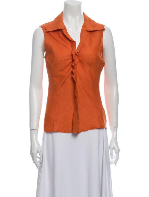 Agnona Linen Sleeveless Top Orange