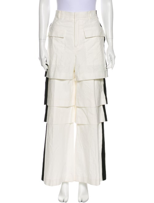 Akira Naka Striped Wide Leg Pants White