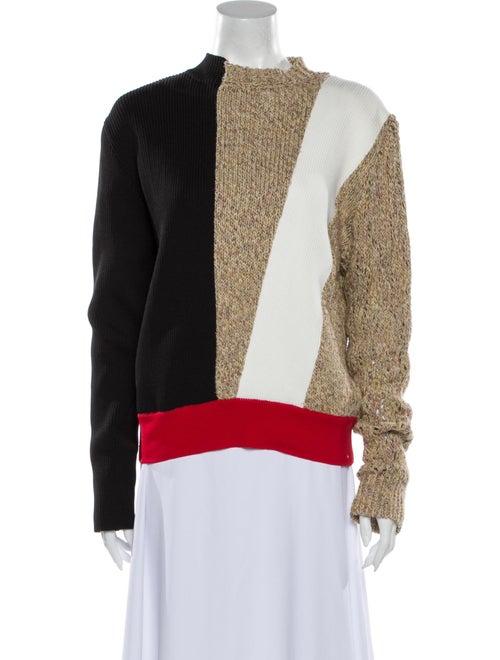 Akira Naka Colorblock Pattern Mock Neck Sweater